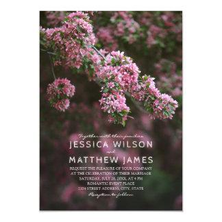 Lilac Cherry Blossom Rustic Spring Floral Wedding Card