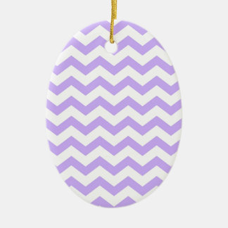 Lilac Chevron Ceramic Ornament