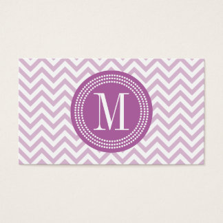Lilac Chevron Zigzag Personalized Monogram Business Card