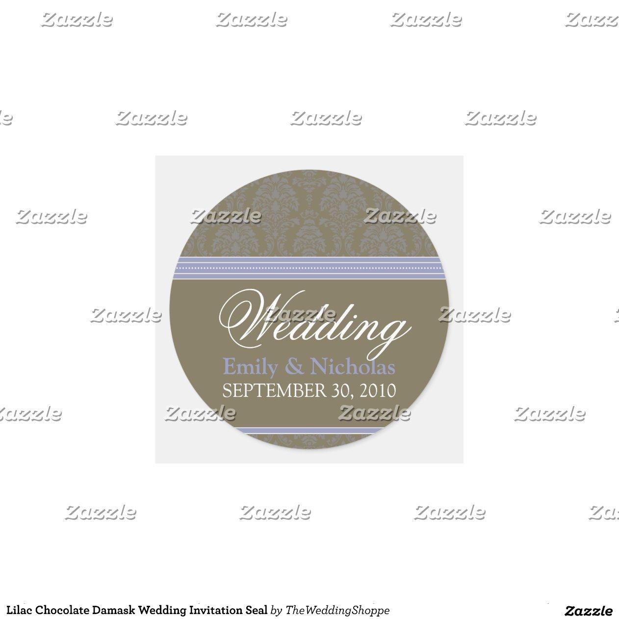 Lilac Chocolate Damask Wedding Invitation Seal Round Sticker