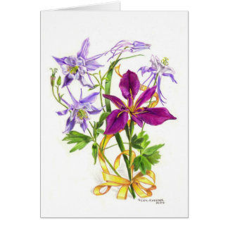 Lilac Columbines and Purple Beardless Iris Card