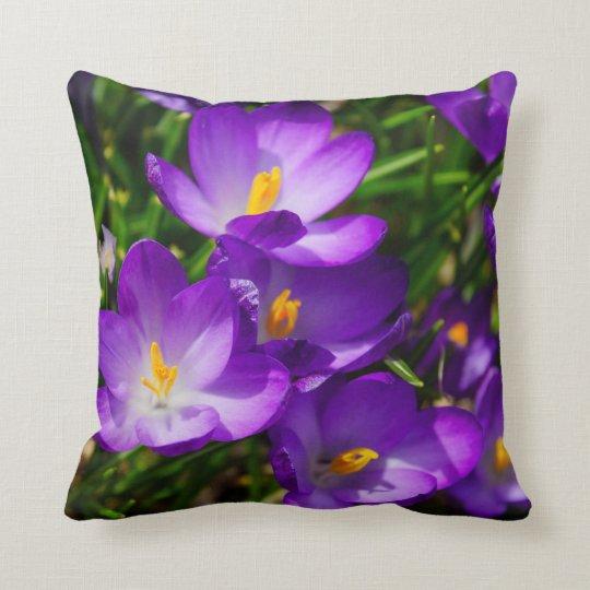 Lilac Crocuses Throw Pillow