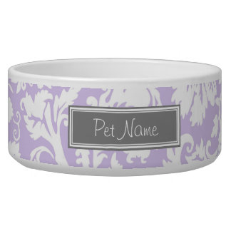 Lilac Damask Custom Name Dog Bowl