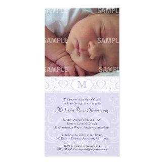 Lilac Damask Monogram Baptism/Christening Photo Card Template