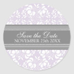 Lilac Damask Save the Date Envelope Seal Stickers