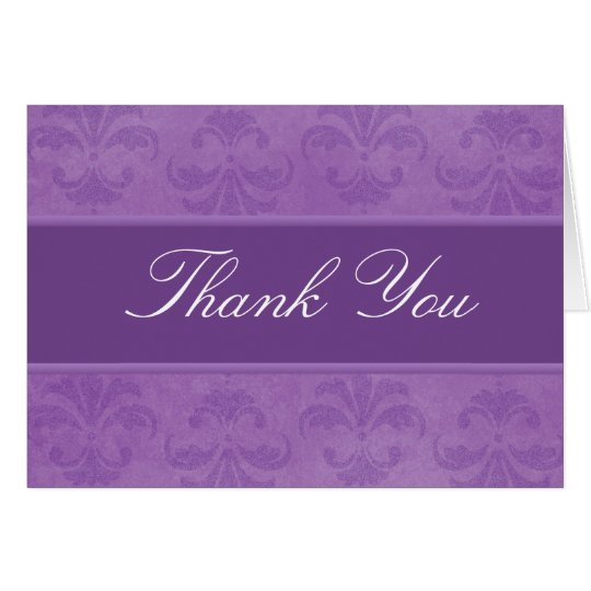Lilac Damask Thank You Card