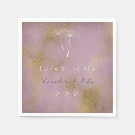 Lilac Distressed Gold Purple Vip Dandelion Wedding Disposable Napkins