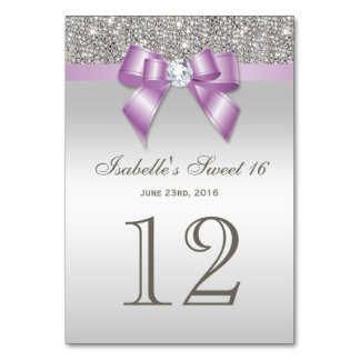 Lilac Faux Bow Silver Sequins Sweet 16 Table Cards