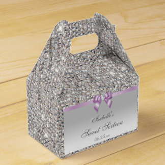 Lilac Faux Bow Silver Sequins Sweet 16 Wedding Favor Box