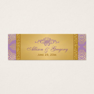 Lilac, FAUX Glitter, Damask Wedding Favor Tag