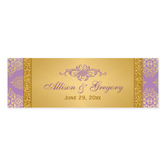 Lilac, FAUX Glitter, Damask Wedding Favor Tag Mini Business Card