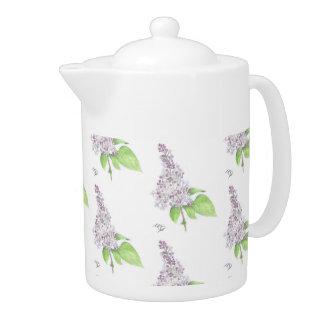 Lilac Floral Sketch Teapot