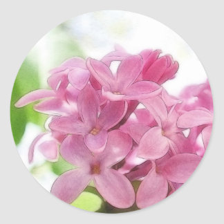 Lilac Flowers In The Morning Sunlight Classic Round Sticker