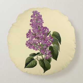 Lilac Flowers Round Pillow