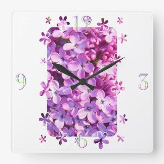 Lilac Flowers Square Wall Clock