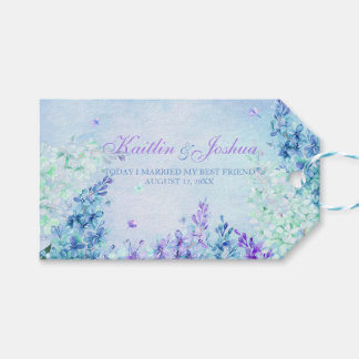 Lilac Garden Watercolor Turquoise Lavender Aqua Pack Of Gift Tags