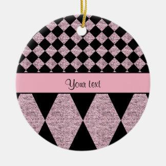 Lilac Glitter Checkers & Diamonds Ceramic Ornament