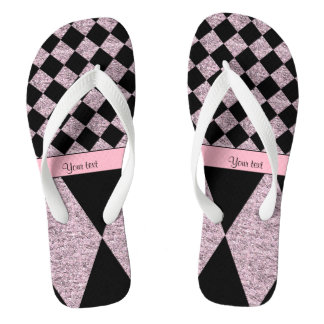 Lilac Glitter Checkers & Diamonds Flip Flops