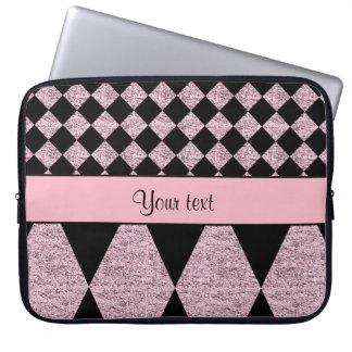 Lilac Glitter Checkers & Diamonds Laptop Sleeve