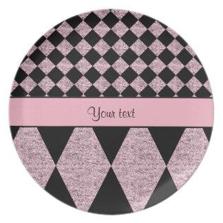 Lilac Glitter Checkers & Diamonds Plate