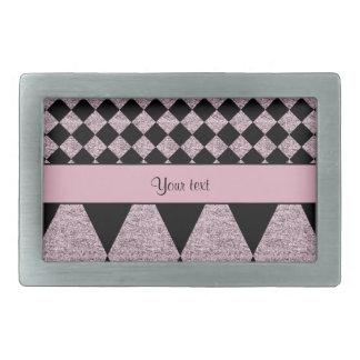 Lilac Glitter Checkers & Diamonds Rectangular Belt Buckle