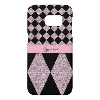 Lilac Glitter Checkers & Diamonds Samsung Galaxy S7 Case