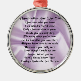 Lilac   Godmother Poem Metal Ornament