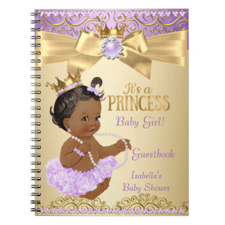 Lilac Gold Ballerina Princess Baby Shower Ethnic Notebooks