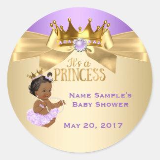 Lilac Gold Ballerina Princess Baby Shower Ethnic Round Sticker