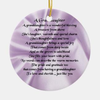 lilac   Granddaughter Poem Ceramic Ornament