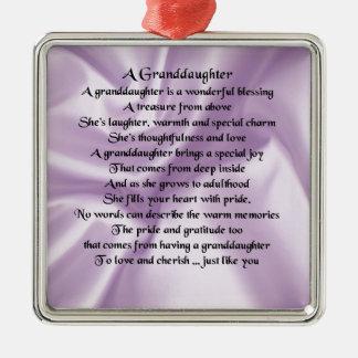 lilac   Granddaughter Poem Metal Ornament