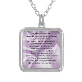 lilac   Granddaughter Poem Silver Plated Necklace
