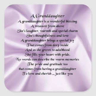 lilac   Granddaughter Poem Square Sticker