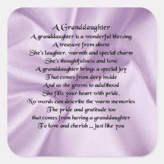 lilac   Granddaughter Poem Square Sticker