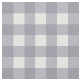 Lilac Gray & White Gingham Check Fabric