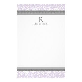 Lilac Gray White Wedding Monogram Stationery