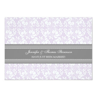 Lilac Grey Damask Just Married Announcement Cards