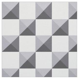 Lilac Grey Pyramid Illusion Checkerboard Fabric