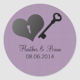 Lilac Heart Lock and Key Wedding Stickers