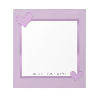 "Lilac Hearts Personalized Notepad 5.5"" x 6"""