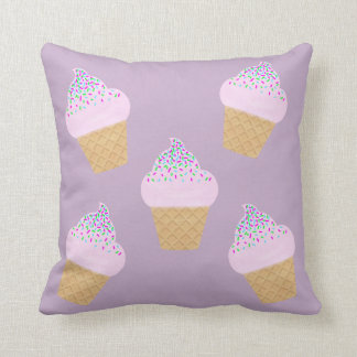 Lilac Ice Cream Cone Throw Pillow