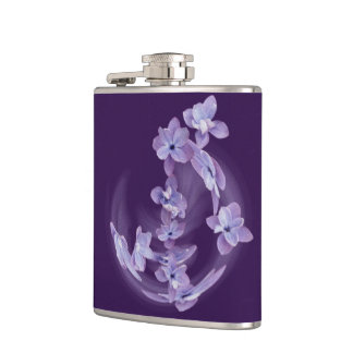 Lilac in circle hip flask