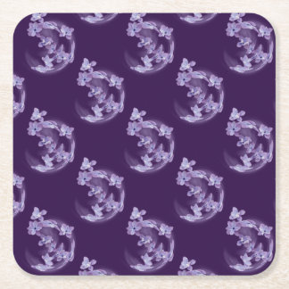 Lilac in circle square paper coaster