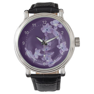 Lilac in circle wrist watch