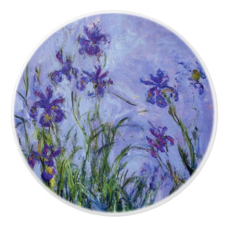 Lilac Irises Monet Fine Art Ceramic Knob