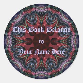 Lilac Jewels Bookplate Round Sticker