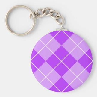 Lilac Lavender Argyle Basic Round Button Keychain