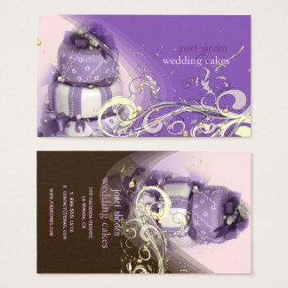 Lilac/lavender/Chocolate cake, bakery Business Card