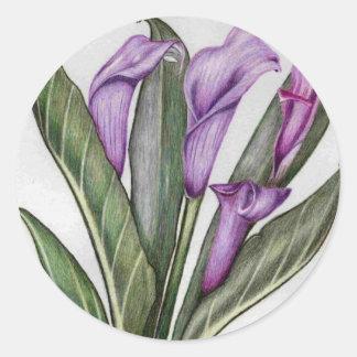 lilac lilies classic round sticker