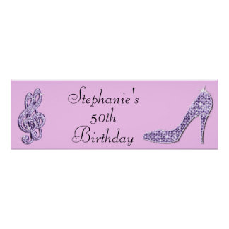 Lilac Music Note and Stiletto 50th Birthday Poster